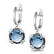 Blue Topaz Black Diamond and Diamond Stellato Earrings 9K White Gold - image 3