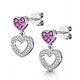 Pink Sapphire and Diamond Stellato Heart Earrings in 9K White Gold - image 3