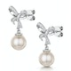 Pearl and Diamond Bow Stellato Earrings 0.10ct in 9K White Gold - image 3