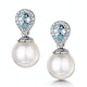 7.5mm Pearl Blue Topaz and Diamond Stellato Earrings in 9K White Gold - image 1