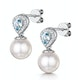 7.5mm Pearl Blue Topaz and Diamond Stellato Earrings in 9K White Gold - image 3