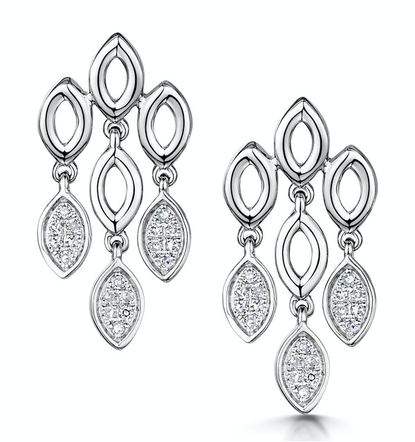 Stellato Collection Diamond Chandelier Earrings 0.12ct 9K White Gold - image 1