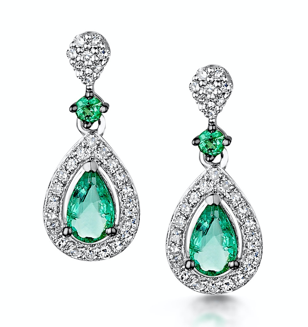 Stellato Collection Emerald and Diamond Earrings 0.18ct 9K White Gold