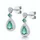 Stellato Collection Emerald and Diamond Earrings 0.18ct 9K White Gold - image 3