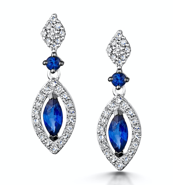 Stellato Collection Sapphire and Diamond Earrings 0.18ct 9K White Gold - image 1