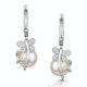 9mm Button Pearl and Diamond Stellato Earrings in 9K White Gold - image 1