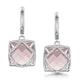 Rose Quartz and Diamond Stellato Earrings 0.28ct 9K White Gold - image 1
