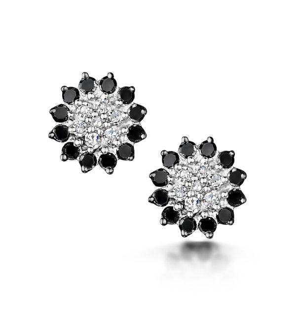 Black Diamond and Diamond Stellato Earrings in 9K White Gold - image 1