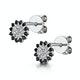 Black Diamond and Diamond Stellato Earrings in 9K White Gold - image 3