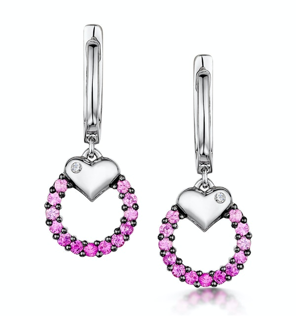 Stellato Collection Pink Sapphire and Diamond Earrings 9K White Gold - image 1