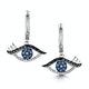 Black Diamond Sapphire Hamsa Evil Eye Stellato Earrings 9K White Gold - image 1