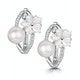 6mm Pearl Shell and Diamond Stellato Earrings 0.11ct in 9K White Gold - image 1