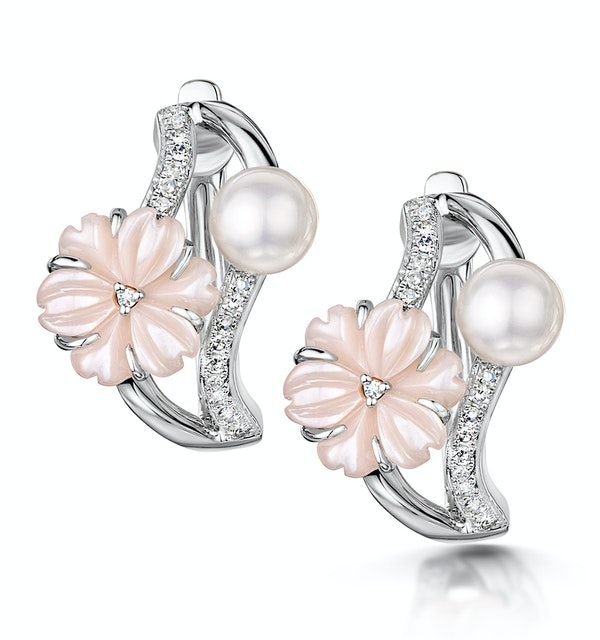 5mm Pearl Shell with 0.10ct Diamond Stellato Earrings 9K White Gold - image 1