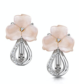 STELLATO COLLECTION SHELL AND DIAMOND EARRINGS 0.05CT IN 9K WHITE GOLD