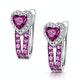 Rhodolite Pink Sapphire and Diamond Stellato Earrings in 9K White Gold - image 3