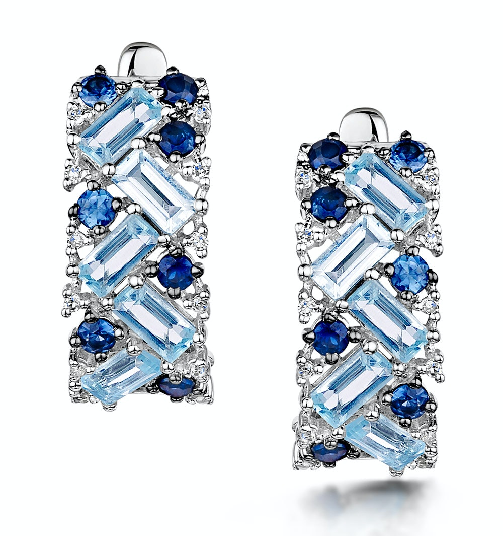Blue Topaz Sapphire and Diamond Stellato Earrings in 9K White Gold