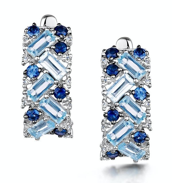 Blue Topaz Sapphire and Diamond Stellato Earrings in 9K White Gold - image 1