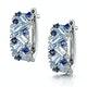 Blue Topaz Sapphire and Diamond Stellato Earrings in 9K White Gold - image 3