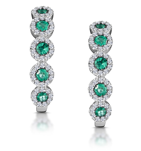0.33ct Emerald and Diamond Stellato Earrings in 9K White Gold - image 1