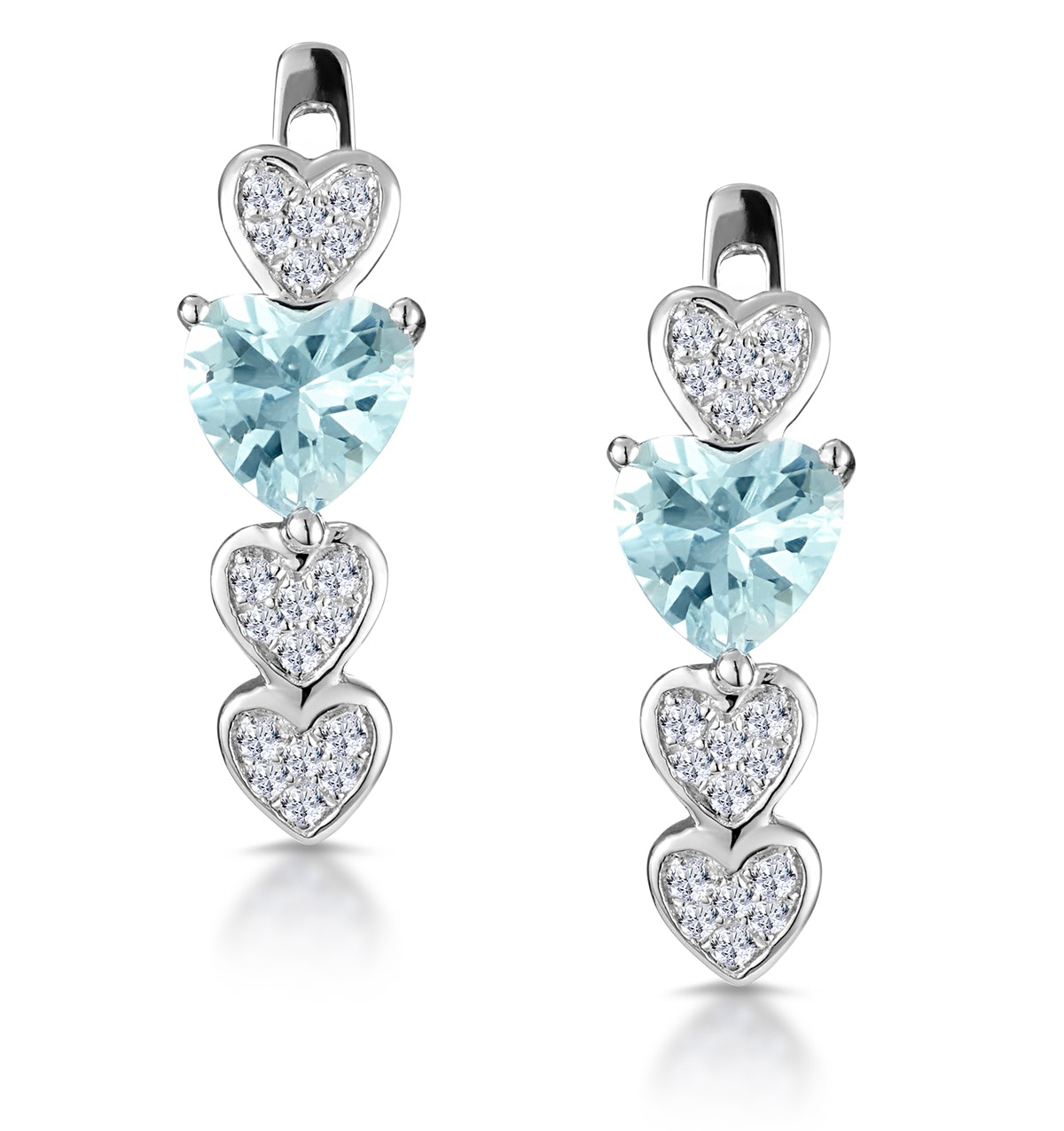 0.60ct Aquamarine and Diamond Heart Stellato Earrings - 9K White Gold