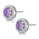 0.64ct Amethyst and Diamond Halo Stellato Earrings in 9K White Gold - image 3