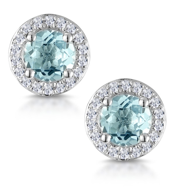 0.69ct Aquamarine and Diamond Halo Stellato Earrings in 9K White Gold - image 1