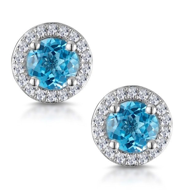 Swiss Blue Topaz and Diamond Halo Stellato Earrings in 9K White Gold - image 1