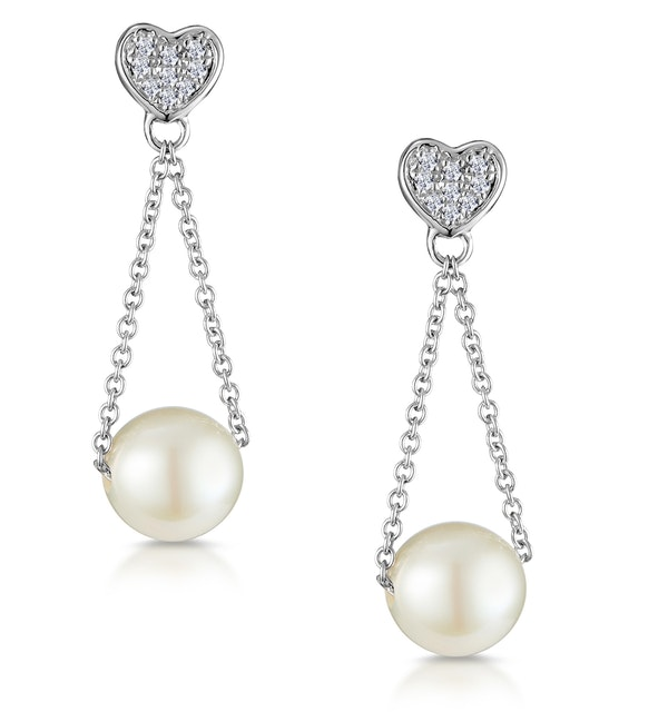 Pearl and 0.05ct Diamond Heart Earrings - Stellato Collection - image 1