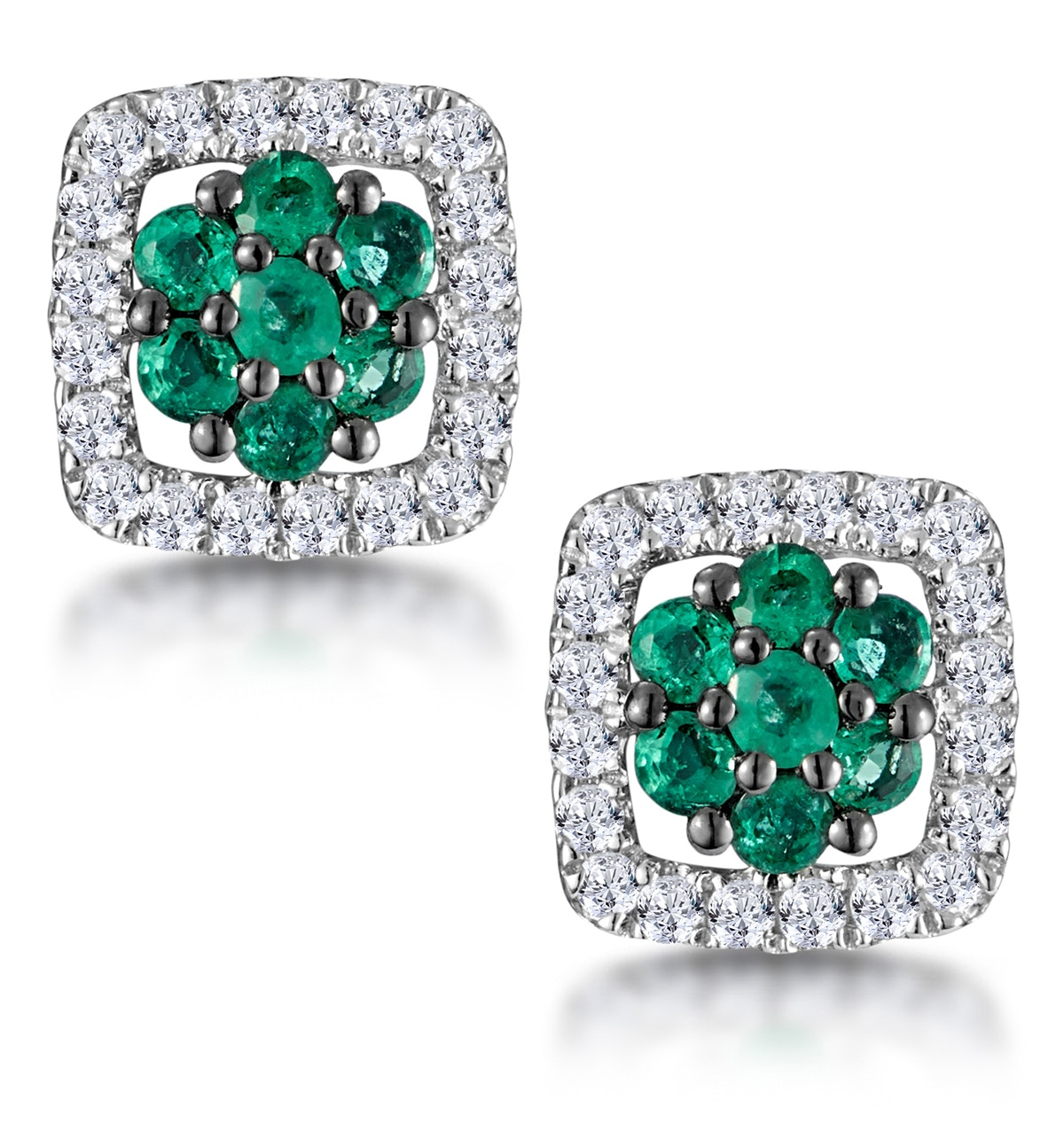 0.23ct Emerald and Diamond Stellato Earrings in 9K White Gold