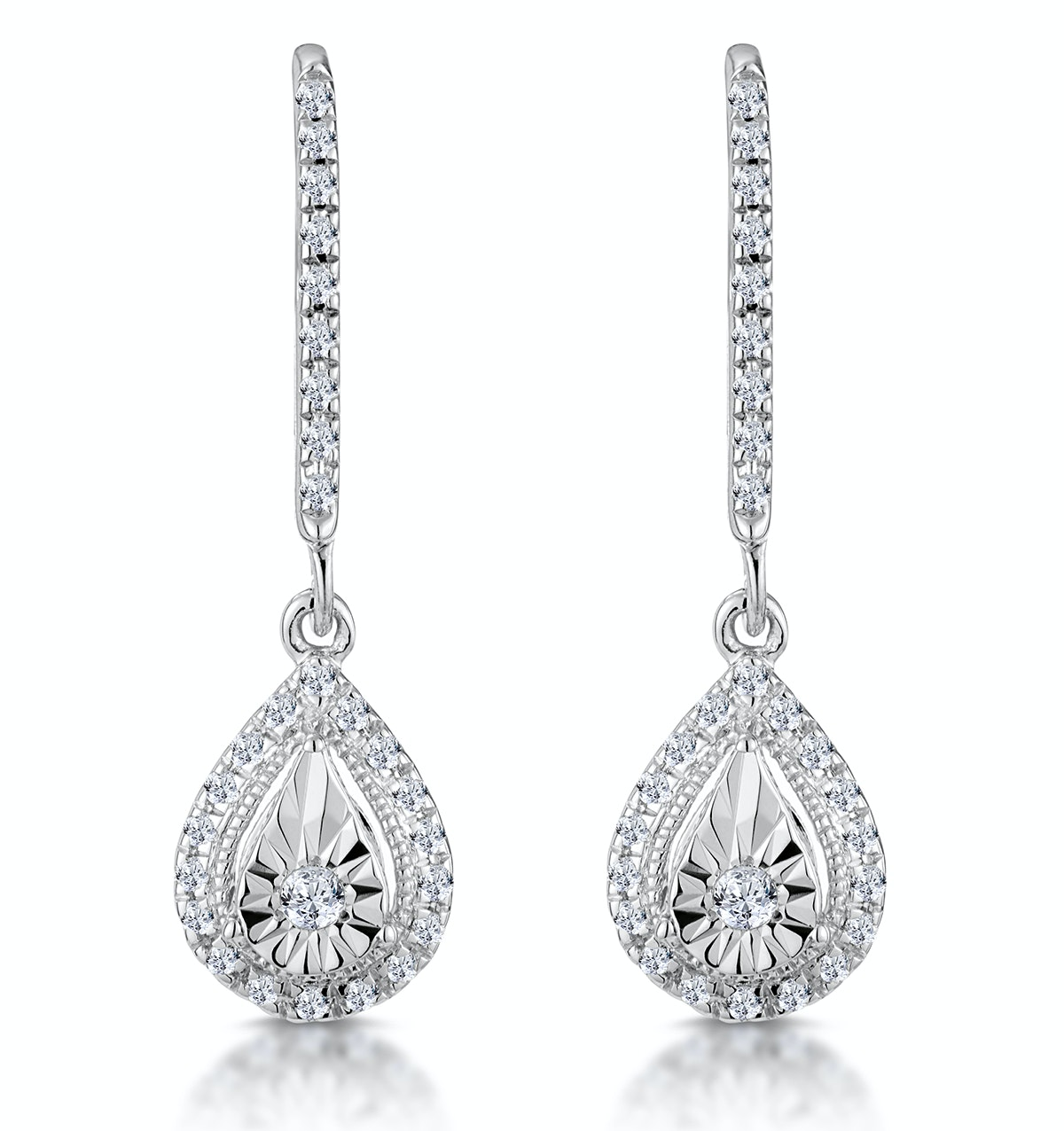 Masami Diamond Pear Halo Earrings 0.20ct Pave Set in 9K White Gold