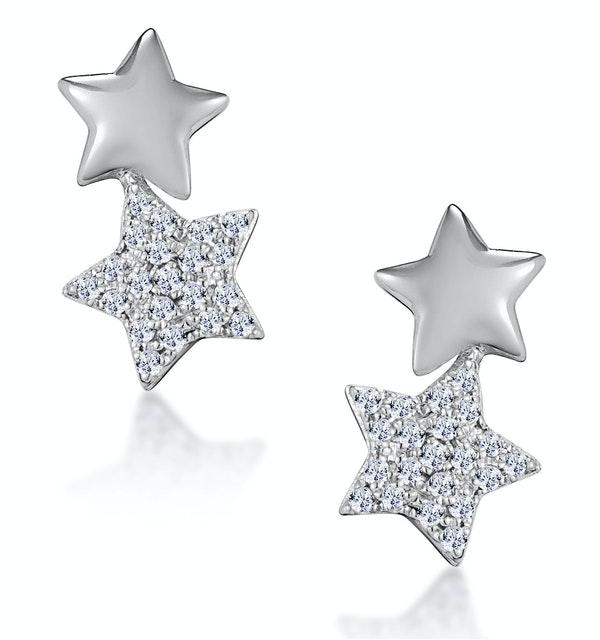 Diamond 2 Stars Stellato Earrings in 9K White Gold - image 1
