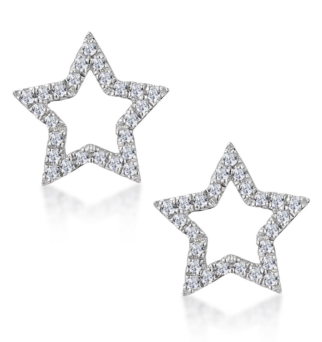 Diamond Stellato Star Earrings in 9K White Gold