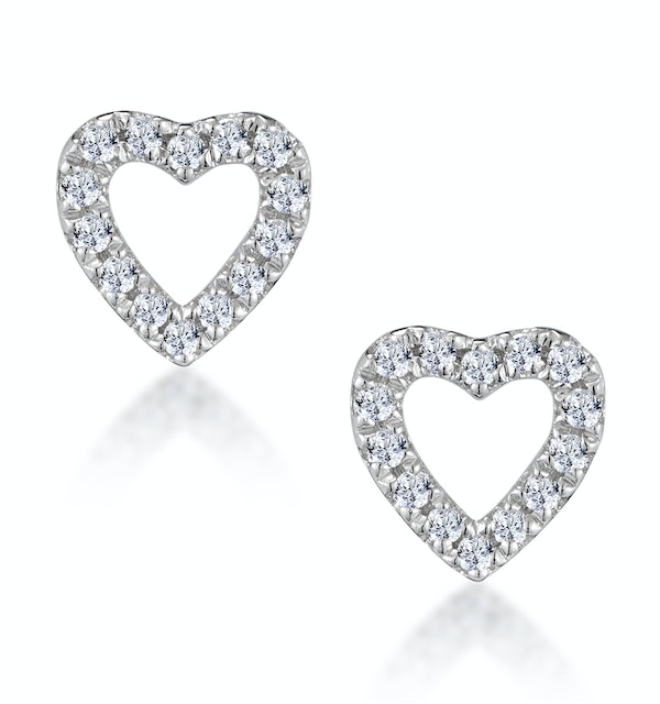 Stellato Diamond Heart Earrings in 9K White Gold - image 1