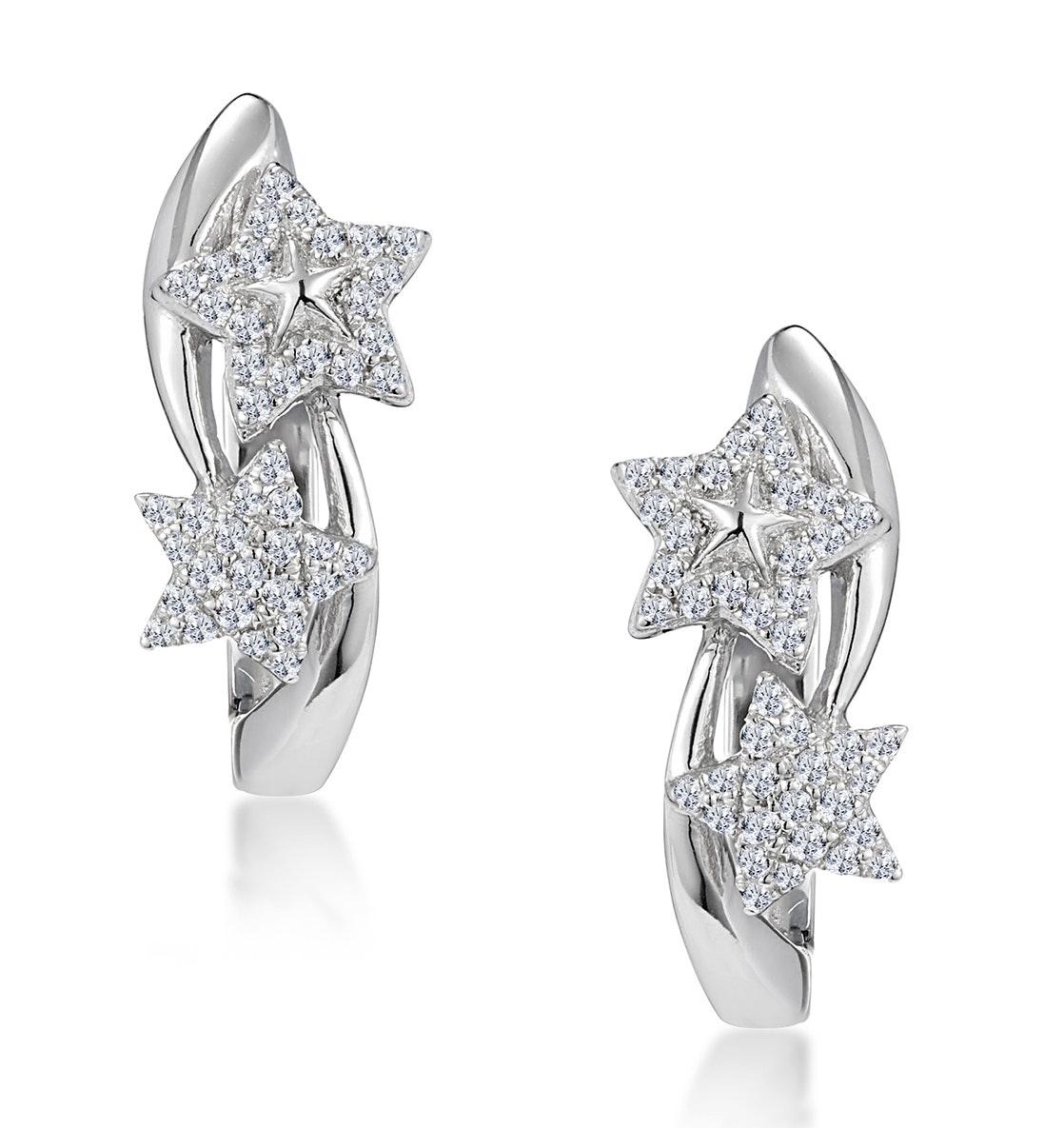 Stellato Twin Stars Diamond Earrings in 9K White Gold