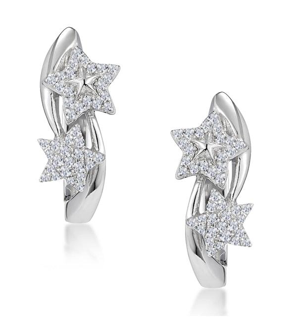 Stellato Twin Stars Diamond Earrings in 9K White Gold - image 1