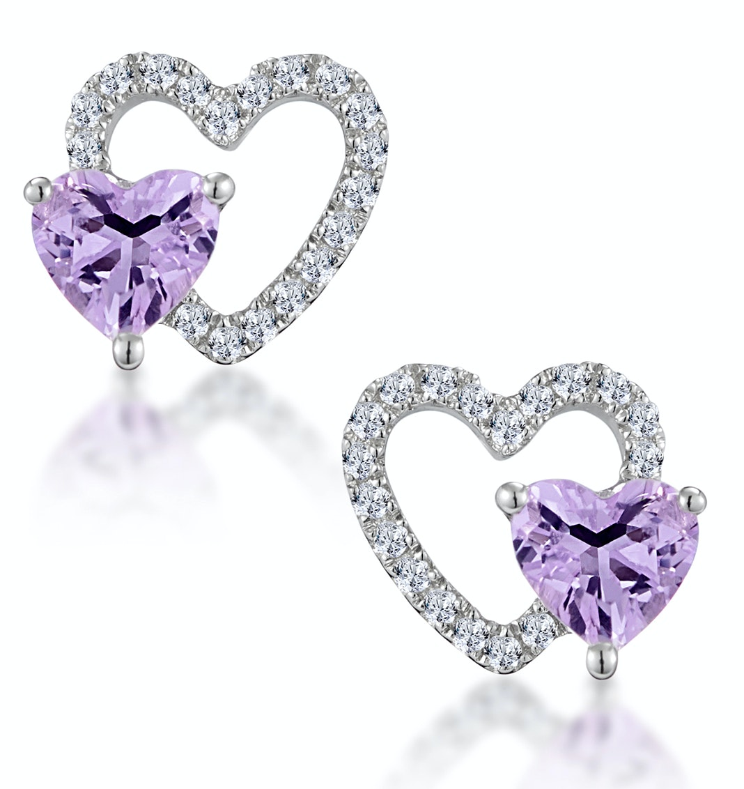 0.43ct Amethyst and Stellato Diamond Heart Earrings in 9K White Gold
