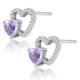 0.43ct Amethyst and Stellato Diamond Heart Earrings in 9K White Gold - image 2