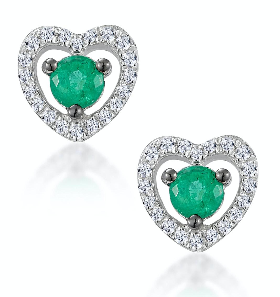 Emerald and Diamond Stellato Heart Earrings in 9K White Gold