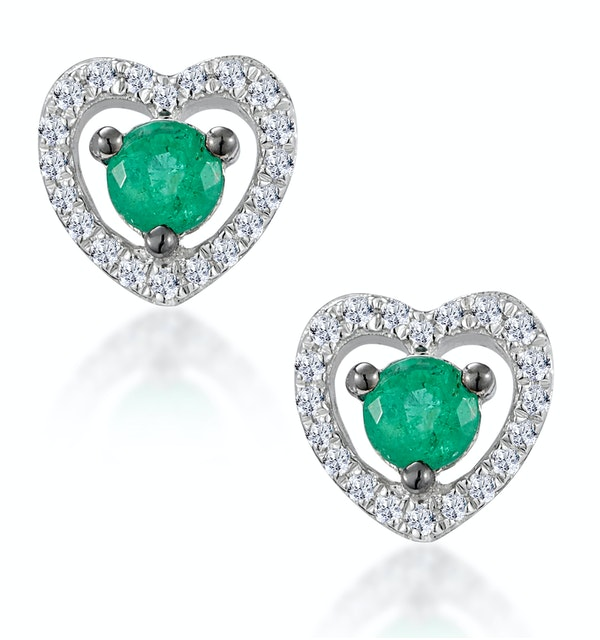 Emerald and Diamond Stellato Heart Earrings in 9K White Gold - image 1