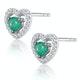 Emerald and Diamond Stellato Heart Earrings in 9K White Gold - image 2
