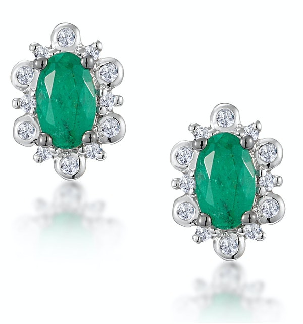 0.50ct Emerald and Diamond Stellato Cluster Earrings in 9K White Gold - image 1