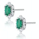 0.50ct Emerald and Diamond Stellato Cluster Earrings in 9K White Gold - image 2