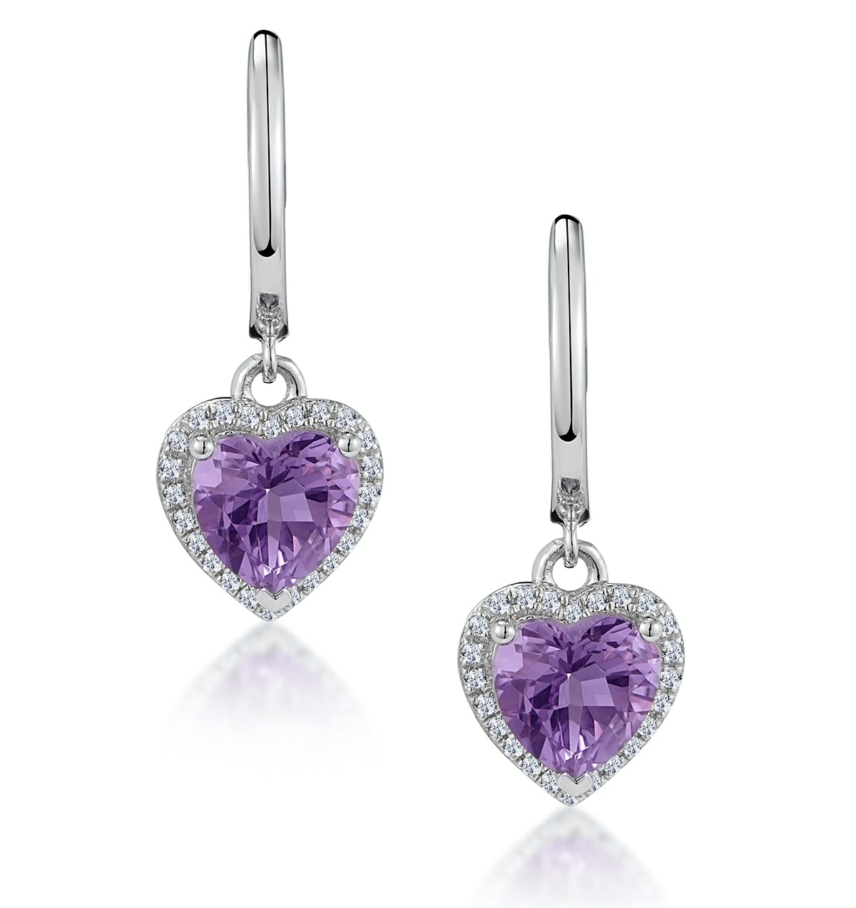 Stellato Amethyst and Diamond Pave Heart Earrings in 9K White Gold