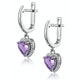 Stellato Amethyst and Diamond Pave Heart Earrings in 9K White Gold - image 2