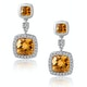 Stellato 2.30ct Citrine and Pave Diamond Earrings in 9K White Gold - image 1