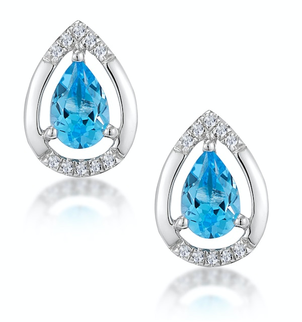Stellato 1.10ct Swiss Blue Topaz and Diamond Earrings in 9K White Gold - image 1