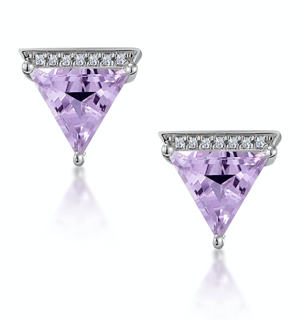 Stellato Triangle Amethyst and Diamond Earrings in 9K White Gold - image 1