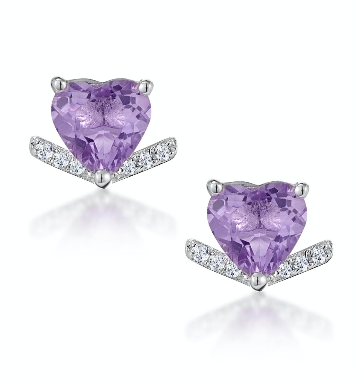 Stellato Amethyst and Diamond Heart Earrings in 9K White Gold