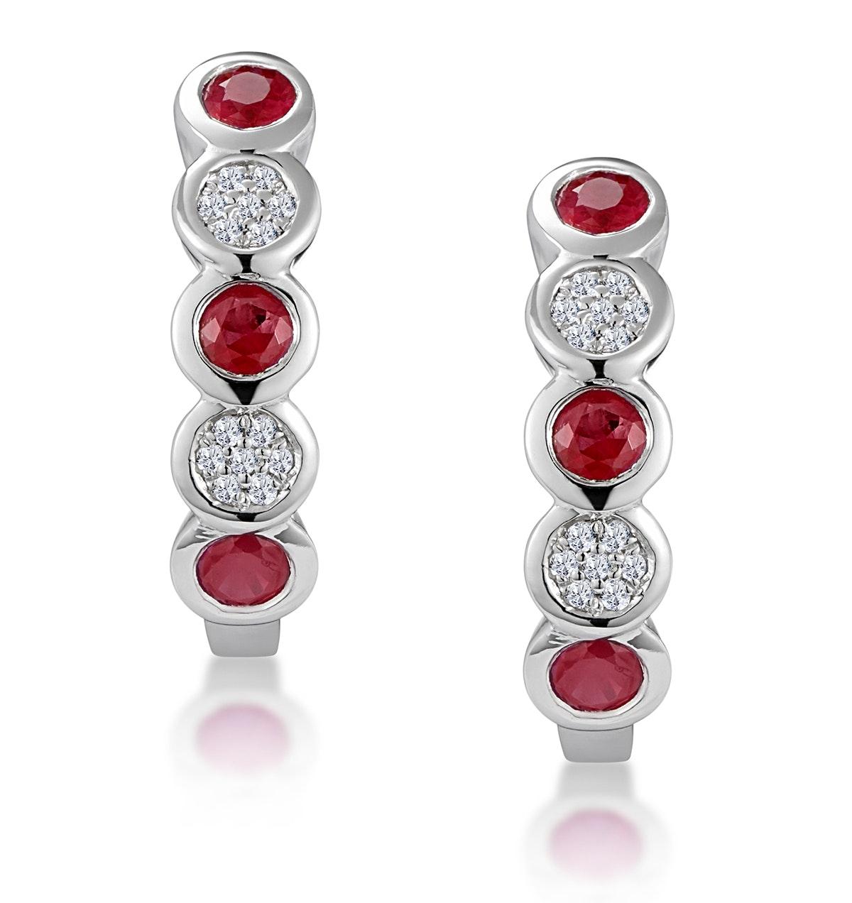 Stellato Ruby and Diamond Eternity Earrings in 9K White Gold