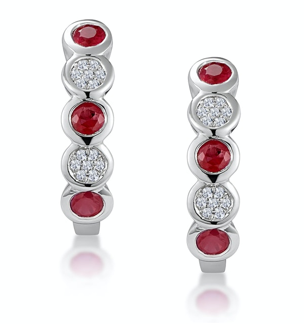 Stellato Ruby and Diamond Eternity Earrings in 9K White Gold - image 1